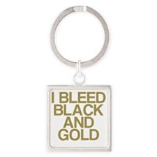 I Bleed Black and Gold Square Keychain