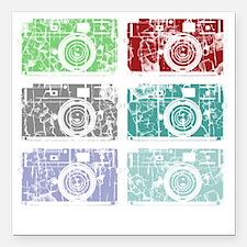 """Cameras, Warhol, Vintage Square Car Magnet 3"""" x 3"""""""