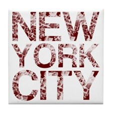 New York City, Aged Red, Tile Coaster