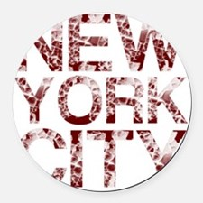 New York City, Aged Red, Round Car Magnet