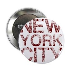 """New York City, Aged Red, 2.25"""" Button"""
