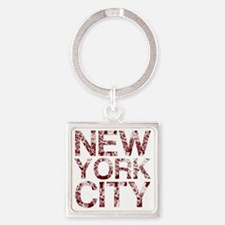 New York City, Aged Red, Square Keychain