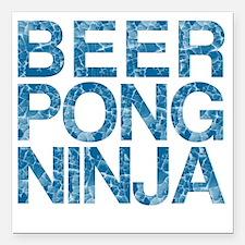 """Beer Pong Ninja, Blue, Square Car Magnet 3"""" x 3"""""""