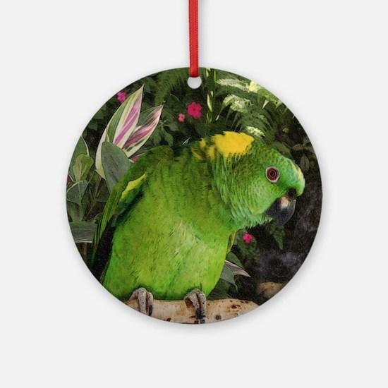 Yellow Nape Amazon Parrot Round Ornament