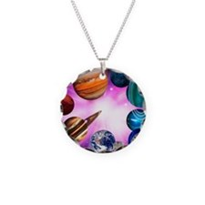 Computer artwork of planets  Necklace
