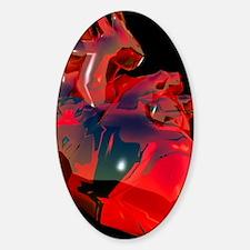 Computer artwork of human heart, ab Sticker (Oval)