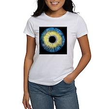 Computer-enhanced blue/yellow iris Tee