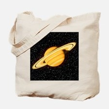 Computer artwork of Saturn seen on a star Tote Bag