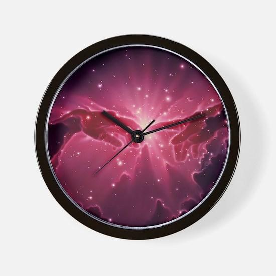 Conceptual artwork of a star birth in a Wall Clock