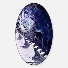 Conceptual art of brain Sticker (Oval)