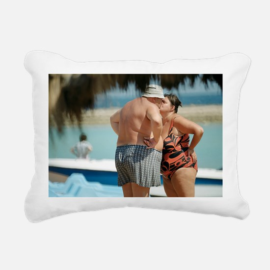 Couple kissing on the be Rectangular Canvas Pillow