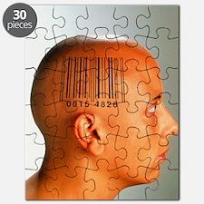 Consumer society: bar code printed on woman Puzzle