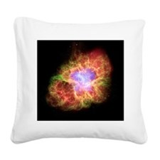 Crab nebula, composite image Square Canvas Pillow