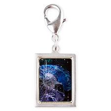 Conceptual art of brain Silver Portrait Charm