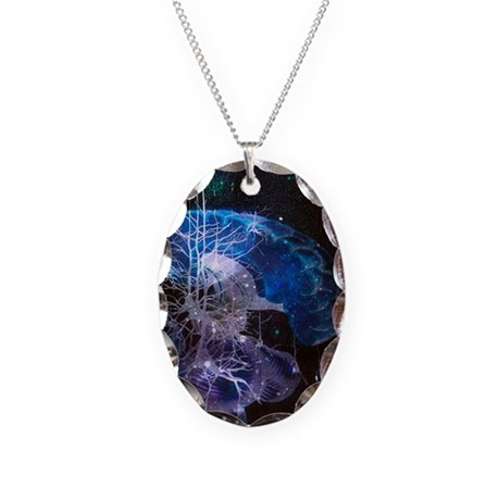 Conceptual art of brain Necklace Oval Charm