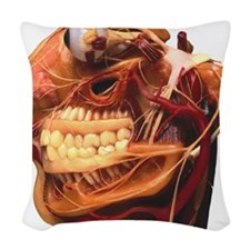 Cutaway model of face Woven Throw Pillow