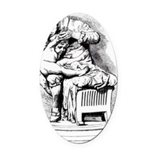 Drawing of Jenner vaccinating his  Oval Car Magnet
