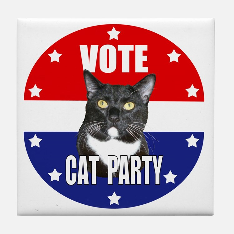 Vote: Cat Party! Tile Coaster