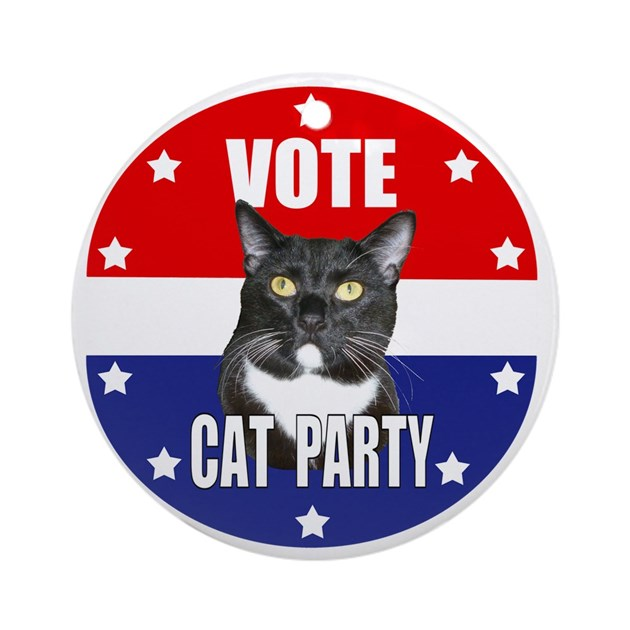 Vote Cat Party Round Ornament By Admin Cp16855219