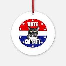 Vote: Cat Party! Round Ornament