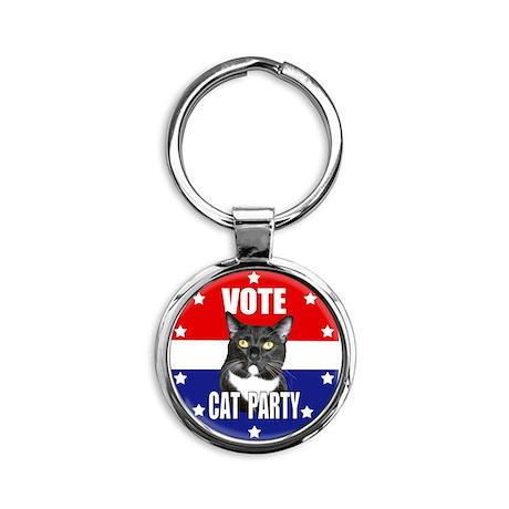 Vote: Cat Party! Round Keychain