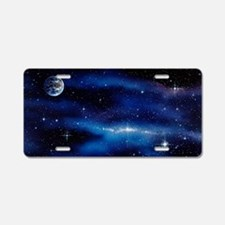 Earth and Milky Way Aluminum License Plate