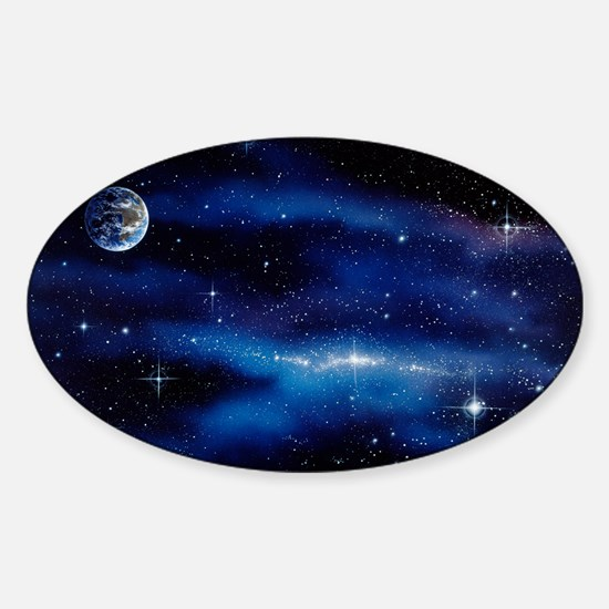 Earth and Milky Way Sticker (Oval)