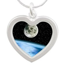 Earth and moon Silver Heart Necklace