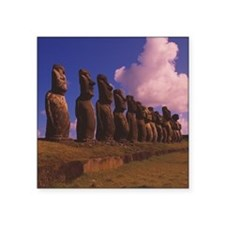 """Easter Island statues Square Sticker 3"""" x 3"""""""