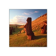 "Easter Island statues Square Sticker 3"" x 3"""