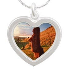 Easter Island statues Silver Heart Necklace