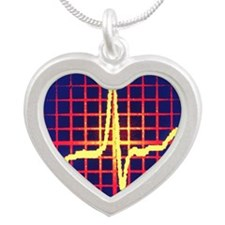 ECG trace Silver Heart Necklace