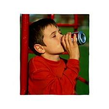 Drinking soft drink Throw Blanket