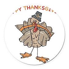 Happy Thanksgiving Turkey Round Car Magnet