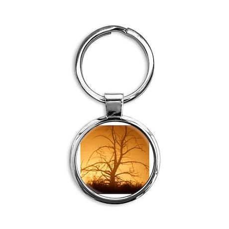 Tree over water Round Keychain