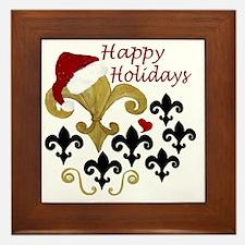 Santa Fleur de lis party Framed Tile
