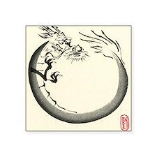 "Dragon Enso Square Sticker 3"" x 3"""