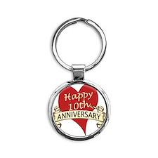 10th. anniversary Round Keychain