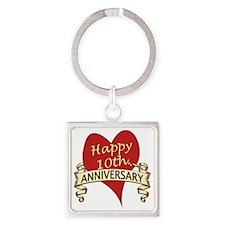 10th. anniversary Square Keychain