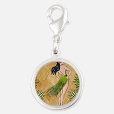 Island girl in a grass skirt Silver Round Charm