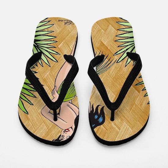 Island girl in a grass skirt Flip Flops