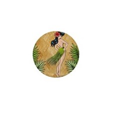 Island girl in a grass skirt Mini Button
