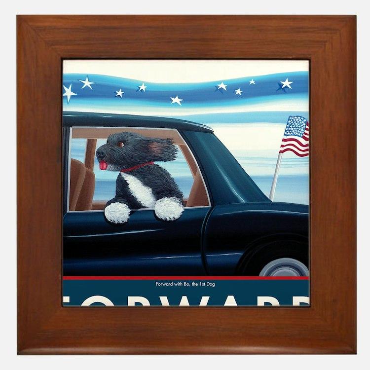 Forward with Bo, the 1st Dog Framed Tile
