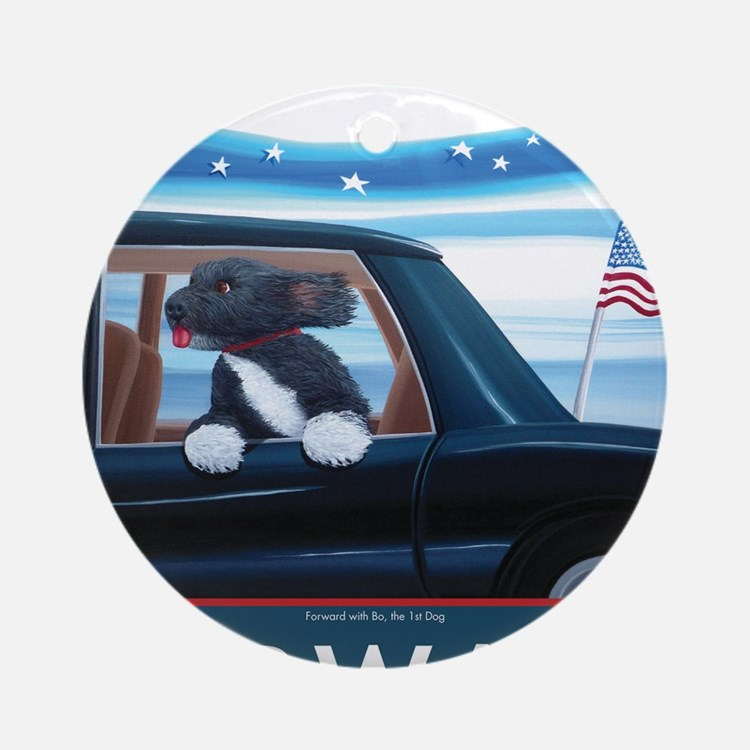 Forward with Bo, the 1st Dog Round Ornament
