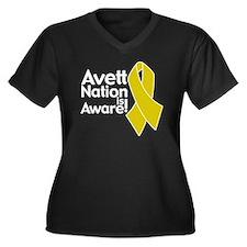 TAB NYE shir Women's Plus Size Dark V-Neck T-Shirt