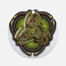 Green Celtic Triquetra Round Ornament