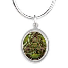 Green Celtic Triquetra Silver Oval Necklace