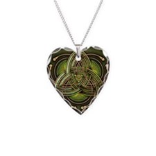 Green Celtic Triquetra Necklace Heart Charm