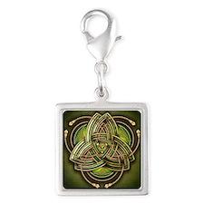 Green Celtic Triquetra Silver Square Charm