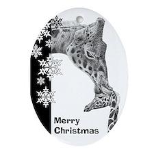 Giraffe and Calf Christmas Card Oval Ornament